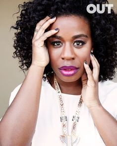 "Uzo Aduba ""Crazy Eyes"" from OITNB for OUT magazine. Looks nothing like her character...Gorgeous!"