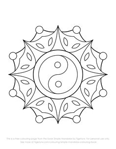 This is a free colouring page with an easy yin yang mandala design. The image is…