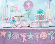 """Shine On"" Disposable Party Napkins, Purple Pink Blue Mermaid Birthday Decorations, Mermaid Theme Birthday, Little Mermaid Birthday, Little Mermaid Parties, Mermaid Party Favors, Mermaid Baby Showers, Baby Mermaid, Ocean Party, Deco Addict"