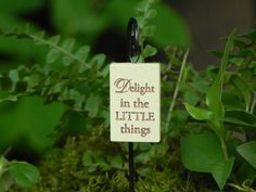 Fairy Garden Accessories Sign with Hook - Delight in the Little things for miniature garden or terrarium light yellow