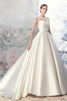 PAPILIO 2016 bridal sleeveless illusion boat sweetheart neckline  embellished bodice satin princess a line wedding dress 07af22300ee9