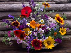 Kolorowy, Bukiet, Kwiatów, Kosz