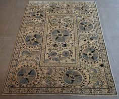Blue Suzani rug from Afghnistan.