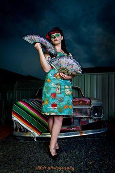 Lesleys Little Shop dress Mexican fabric Pin up rockabilly