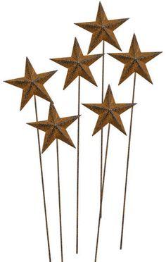New Primitive Folk Art Set 6 RUSTY STAR PICKS For Centerpiece Baskets Crocks  #Hearthside