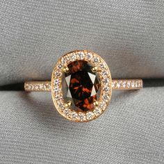rose gold and brown diamond ring