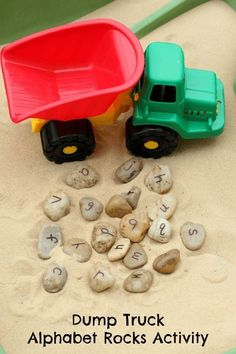 Learn letters with a dump truck and alphabet rocks! A fun alphabet activity! ABC's and transportation rolled into one for preschool, pre-k and toddlers