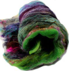 Art batt (3.5 oz.) wild rainbow batt for spinning or felting -- Lucky Coin -- 06 by hobbledehoy