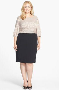 Adrianna Papell Mixed Media Sheath Dress (Plus Size) | Nordstrom