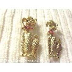 Vintage Set of 2 Poodle Dog Pins Brooches Mom & Baby Gold Tone SO CUTE!