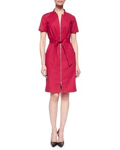 Hathaway Belted Zip-Front Dress