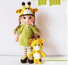 Tiny Mini Design Patterns: Zoe Doll and Little Giraffe Knitted Dolls, Crochet Dolls, Crochet Baby, Amigurumi Doll Pattern, Crochet Amigurumi Free Patterns, Crochet Doll Tutorial, Little Giraffe, Anime Dolls, Crochet Videos
