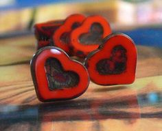 Red Hot Pimento Heart Czech Glass Beads 14mm  6 Pcs by simplypie