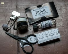 Rapid Repair Kit from Merchant & Mills: First Aid for Clothes! In a beautiful etched tin.  Contents: Black thread bobbin, white thread bobbin, needles in glass tube, pins, safety pins (varied x 3), shirt buttons, paper tape measure and monogrammed scissors. An absolute gift! $25.00