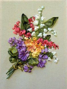 Gallery.ru / Работа Светланы Герасимовой - Букетик по открытке - фиалки и дицентра - kseny-k