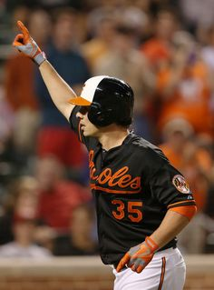 Danny Valencia #35 of the Baltimore Orioles celebrates after hitting a solo home run against the Chicago White Sox during the third inning at Oriole Park at Camden Yards on September 6, 2013 in Baltimore, Maryland.