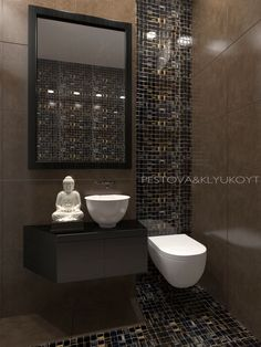 #toilet #visualization #interiordesign #beige #brown #luxury #rendering #3DsMax #Coronarender #PESTOVAKLYUKOYT #tile #buddha #bathroom