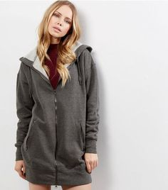 Dark Grey Zip Pocket Longline Hoodie    New Look