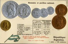 Argentina Coin & Flag Postcards Currency Converter, Legal Tender, Old Postcards, Gold Coins, Flag, Prints, Silver, Coining, Argentina