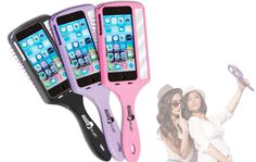 Introducing the Selfie Brush - is it an iphone case, or a mirror, or a brush? All of the above! Genius!