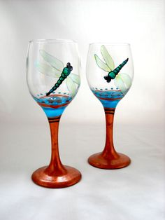 Dragonfly Mini Wine Glassware Hand Painted Cordial Glasses with Copper Stems