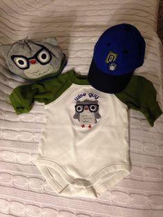 """Gymboree Baby Boy """"Wise Guy"""" Owl Onesie & Hat Set Size 3-6 Months"""