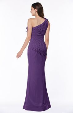 Sexy Fit-n-Flare Sleeveless Half Backless Chiffon Flower Plus Size Bridesmaid Dresses