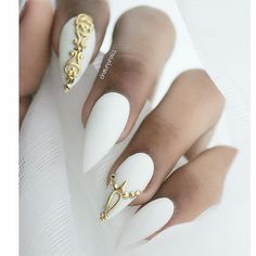 ALLEYCAT JEWELRY Home White Nails With GoldWhite Stiletto