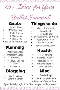 Bullet journal ideas   ideas for bullet journals   bullet journal pages