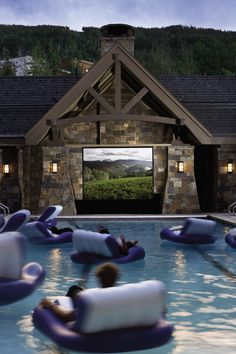 """Our new favorite spot! """"Dive-in"""" movies - during the summer months, little guests can enjoy fun flicks from the comfort of the Four Seasons Resort Vail's heated pool"""