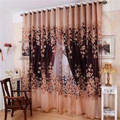 Estilo Europeo de Lujo Cortina de Tul Bordado Floral Cortinas Transparentes Para Sala de estar
