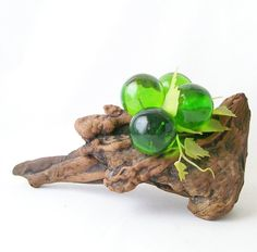 vintage green acrylic grape cluster on driftwood by RecycleBuyVintage, $24.00