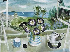 Teapot and Tulips - Sarah Bowman Tea Illustration, Illustrations, Grandma Moses, Fun Cup, 2d Art, Window Sill, Whimsical Art, Art Google, Home Art
