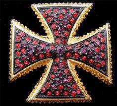 Signed Dalsheim Maltese Cross Ruby Red Amethyst Rhinestone Enamel Brooch Vintage | eBay