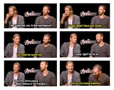 Chris Evans switching and playing superman. Marvel funny.