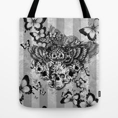 Lost and Found, floral owl with sugar skull Tote Bag by Kristy Patterson Design - $22.00