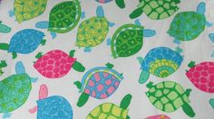 Lightweight Summer Blanket, Stroller Blanket, Large baby or toddler blanket, 100 percent premium cotton,approx 38 X 43 inches. Sweet Turtles