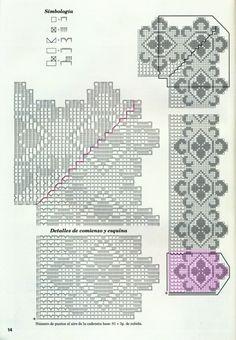 Gallery.ru / Фото #6 - Muestras y Motivos Especial Puntillas 25 - tymannost Tapestry Crochet, Crochet Edgings, Filet Crochet, Lana Verde, Macrame, Projects To Try, Cross Stitch, Knitting, Diy Crafts