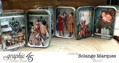 Altered tins by Solange Marques featuring Graphic 45 Christmas carol collection 1 Más Tin Can Crafts, Dyi Crafts, Christmas Projects, Christmas Crafts, Spool Crafts, Christmas Ideas, Christmas Ornaments, Altered Tins, Altered Art