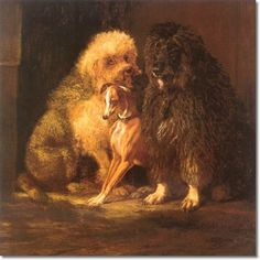 1870 Poodles and Italian Greyhound, painting by Samuel Carter.