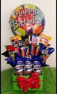 Fathers Day Gift Basket, Valentine Gift Baskets, Fathers Day Gifts, Valentine Gifts, Gift Bouquet, Candy Bouquet, Bff Birthday Gift, Birthday Balloon Decorations, Balloon Gift