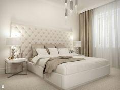 Beżowo biała sypialnia. Kojące wnętrze