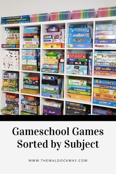Gameschool Games Sorted by Subject – The Waldock Way – Game Room İdeas 2020 Learning Games For Kids, Board Games For Kids, Educational Board Games, Educational Toys, Educational Websites, School Organization, Board Game Organization, Organization Ideas, Kindergarten Learning