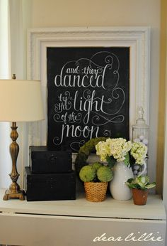 Dear Lillie: And They Danced by the Light of the Moon - Chalkboard Frame just change the saying to suit the theme