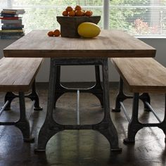 love this teak table for the informal kitchen area