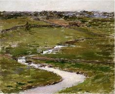 Theodore Robinson - On John H. Green Landscape, Landscape Art, Landscape Paintings, Landscapes, American Impressionism, Impressionist, Theodore Robinson, Water Movement, Artist Painting