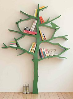 The Nursery Works Tree Bookcase is a modern bookcase that's roomy enough to hold over 100 books on its stable shelves. This kids bookcase is crafted from durable MDF, and attaches securely to the wall Tree Bookshelf, Modern Bookcase, Bookshelves Kids, Bookshelf Design, Bookshelf Ideas, Tree Shelf, Bookcase Plans, Nursery Bookshelf, Bookcases