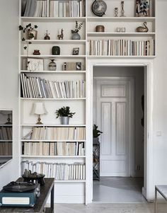 Books and shelving.