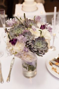 Hyatt Regency Rochester Wedding Flowers by Stacy K Floral | Captured by Kracke Photography | Succulent Bouquet