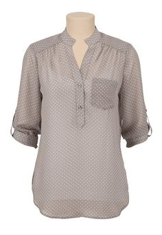 3/4 Sleeve Chiffon dot print blouse available at #Maurices